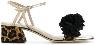 Alberto Gozzi leopard heel ruffle trim sandals