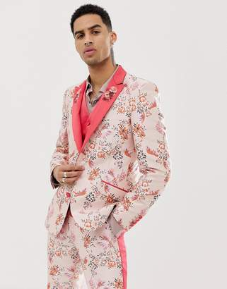 Asos Edition EDITION skinny suit jacket in pink floral jacquard with embroidered lapel