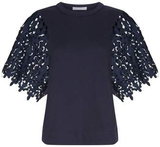 See by Chloe Guipure Lace Trim T-Shirt