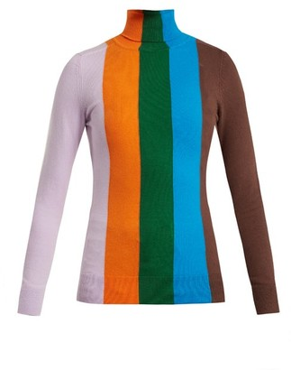 JoosTricot Roll Neck Striped Cotton Blend Sweater - Womens - Orange Multi