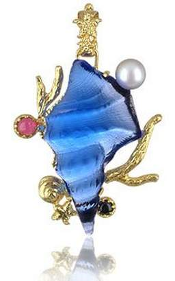 Tagliamonte Marina Collection - Blue Seashell Tourmaline & 18K Gold Pendant