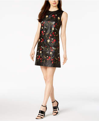 Calvin Klein Embroidered Faux-Leather Shift Dress