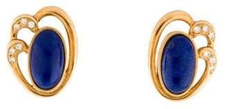 Lapis 18K Lazuli & Diamond Clip-On Earrings