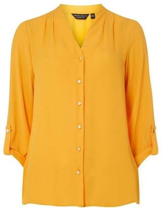 Dorothy Perkins Womens Orange Pleated Collarless Shirt