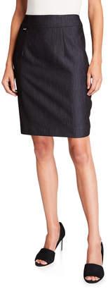 Carmen Marc Valvo Carmen Slit-Back Denim Pencil Skirt