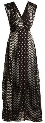 Diane von Furstenberg Polka Dot Silk Satin Dress - Womens - Black Silver