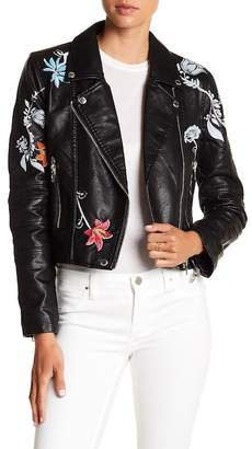BLANKNYC Denim Secret Keeper Floral Faux Leather Jacket $148 thestylecure.com