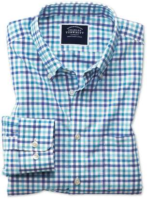 Charles Tyrwhitt Slim Fit Poplin Blue Multi Gingham Cotton Casual Shirt Single Cuff Size XXL