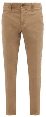 Incotex Logo Embroidered Garment Dyed Cotton Blend Chinos - Mens - Camel