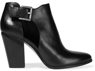 MICHAEL Michael Kors - Adams Cutout Leather Ankle Boots - Black $185 thestylecure.com