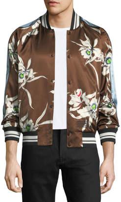 Valentino Floral-Satin Bomber Jacket