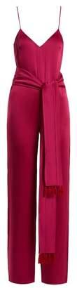 Galvan - Cuzco Tassel Embellished Wide Leg Satin Jumpsuit - Womens - Pink