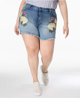 William Rast Plus Size Embroidered High-Rise Denim Shorts