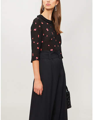 Claudie Pierlot Bonjour floral and dot-embroidered chiffon top