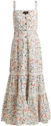 Saloni Fara floral-print tiered cotton dress