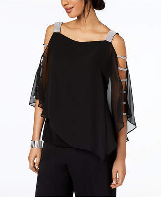 MSK Embellished Cold-Shoulder Top