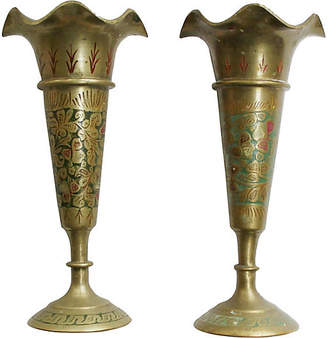 One Kings Lane Vintage Enameled Brass Candleholders - Set of 2