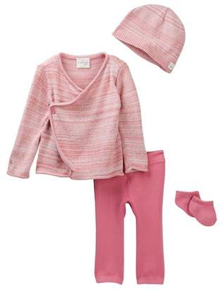 Cuddl Duds Space Dye Cardigan, Pants, Hat & Socks Set (Baby Girls)