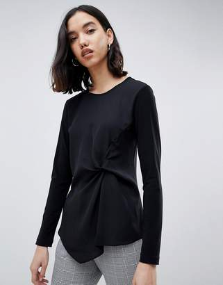 Warehouse twist front blouse in black
