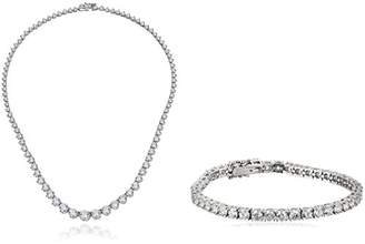 Swarovski Platinum-Plated Sterling Silver Zirconia Riviera Necklace and Tennis Bracelet Jewelry Set