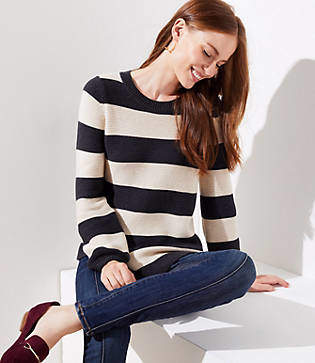 LOFT Striped Swingy Sweater
