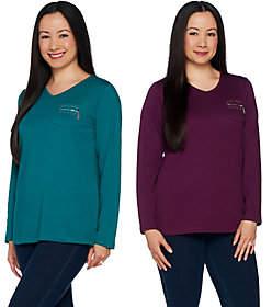 Quacker Factory Set of 2 Long Sleeve T-shirtsw/Zipper Detail