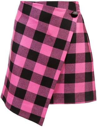 Milly asymmetric checked skirt