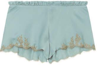 Carine Gilson Flottant Chantilly Lace-trimmed Silk-satin Shorts - Sky blue