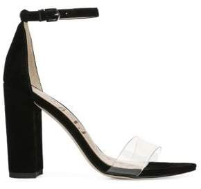 Sam Edelman Yaro Vinyl& Suede Ankle Strap Heels