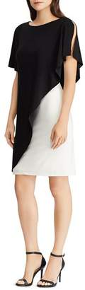 Ralph Lauren Two-Tone Overlay Jersey Dress