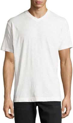 Robert Graham Short-Sleeve V-Neck Tee, White $55 thestylecure.com