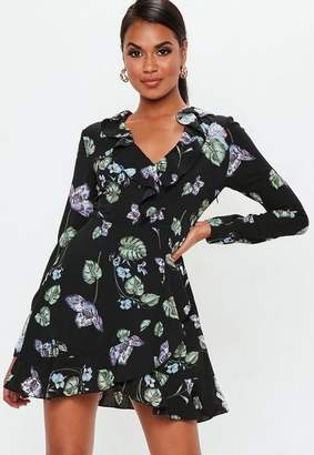 Missguided Black Floral Long Sleeve Ruffle Tea Dress