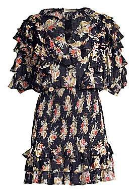 Rebecca Taylor Women's Floral Silk& Cotton Ruffle Mini Dress