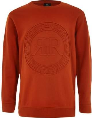 River Island Boys orange RI embossed print sweatshirt