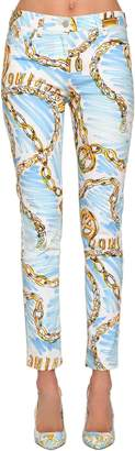 Moschino Printed Cotton Denim Jeans