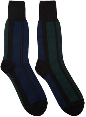 Sacai Navy & Green Striped Socks $40 thestylecure.com