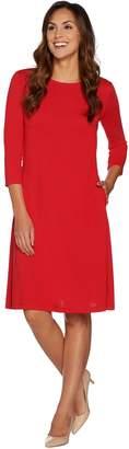Susan Graver Ponte Knit 3/4 Sleeve Swing Dress