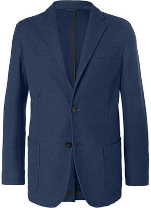 Ermenegildo Zegna Blue Unstructured Textured-Cotton Blazer