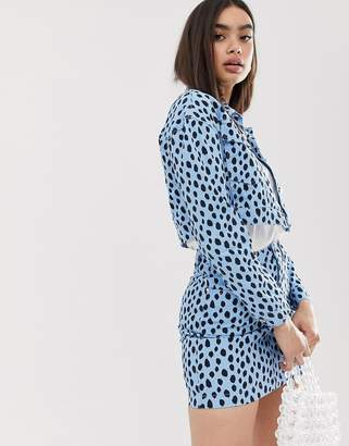 Missguided co-ord cropped denim jacket in blue dalmatian spot