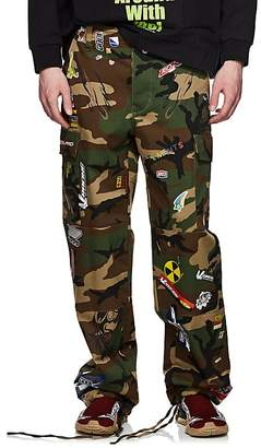 Vetements Men's Camouflage & Sticker-Print Cotton Cargo Pants