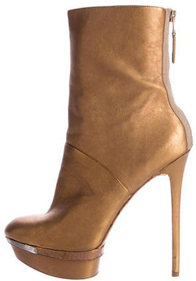 B Brian Atwood Metallic Platform Ankle Boots $95 thestylecure.com