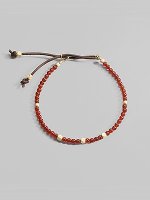 Catherine Michiels Carnelian & 14K Yellow Gold Bead Bracelet
