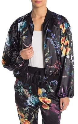 On The Road Sherry Floral Satin Bomber Jacket