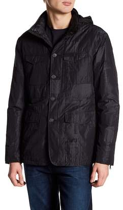 John Varvatos Collection Button Down Stand Up Collar Plaid Jacket