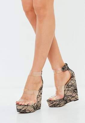 Missguided Nude Three Strap Clear Platform Wedge Lace Shoes