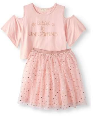Btween Believe in Unicorns Cold Shoulder Top and Foil Tutu Skirt, 2-Piece Outfit Set (Big Girls)