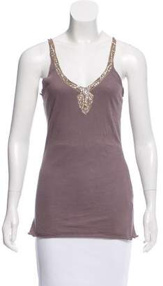 Velvet Embellished Sleeveless Top
