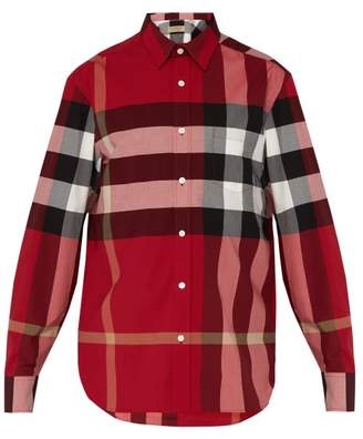 Burberry Windsor Check Print Shirt - Mens - Red Multi
