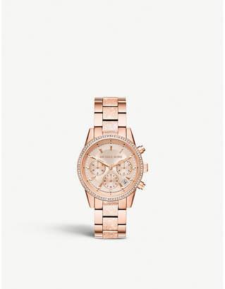 Michael Kors MK6598 Ritz crystal-embellished stainless steel watch