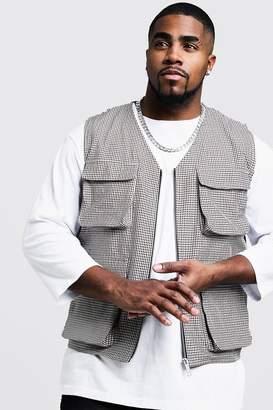 boohoo Big & Tall Gingham Check Utility Vest